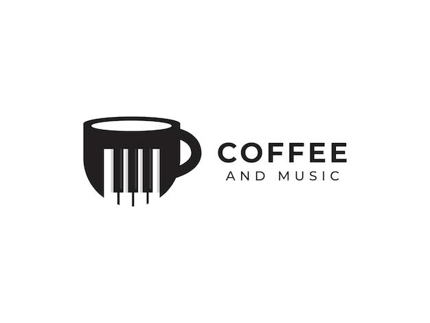 Kaffee und musik logo design konzept becher illustrationen