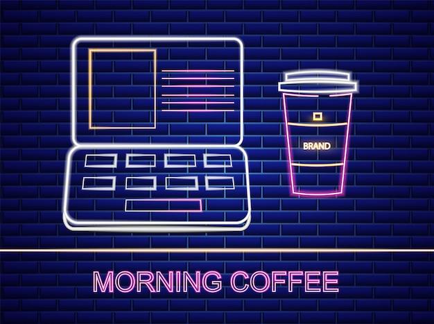 Kaffee und notebook leuchtreklame