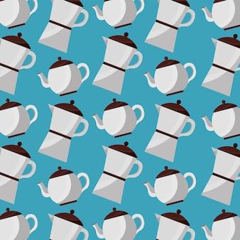Kaffee und tee zeit kaffeemaschine und teekanne muster