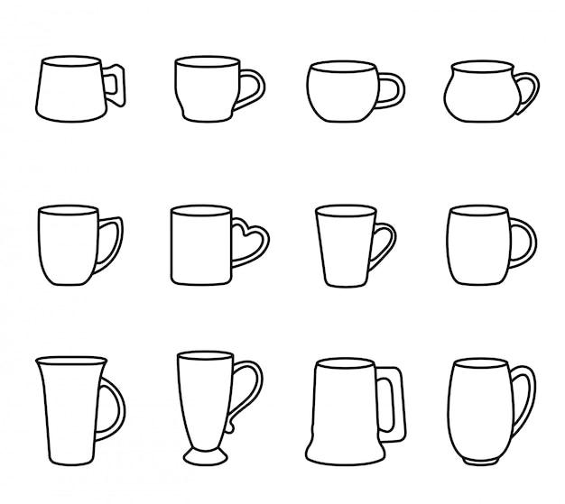 Kaffee- und teecupikone stellte mit weißem hintergrund ein. dünne linie artvorratvektor.