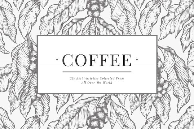 Kaffee-vektor-design-vorlage. weinlesekaffee. hand gezeichnete gravierte artillustration.
