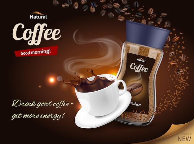 Kaffee werbung realistische komposition