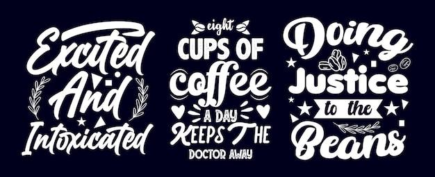Kaffee zitiert handgezeichnetes bundle-t-shirt-design