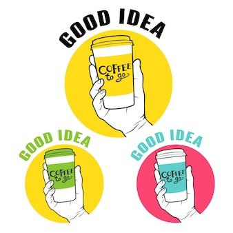 Kaffee zum mitnehmen hand emblem set