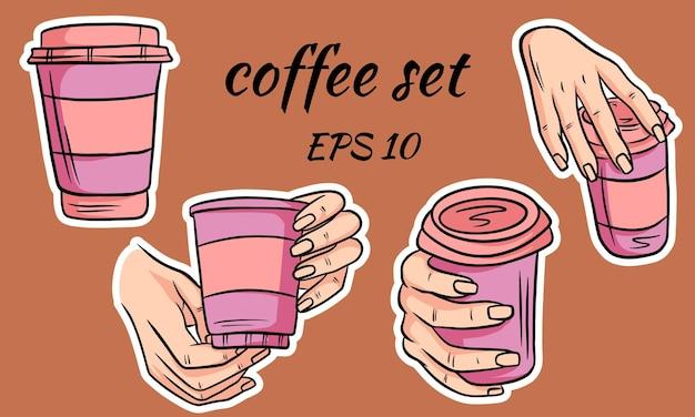Kaffee zum mitnehmen in der hand abbildung