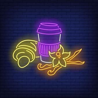 Kaffee zum mitnehmen und croissant im neonstil