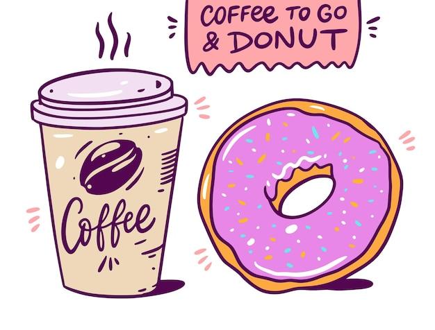Kaffee zum mitnehmen und rosa donut.