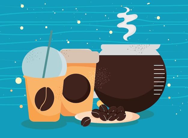 Kaffee zum mitnehmen und teekanne