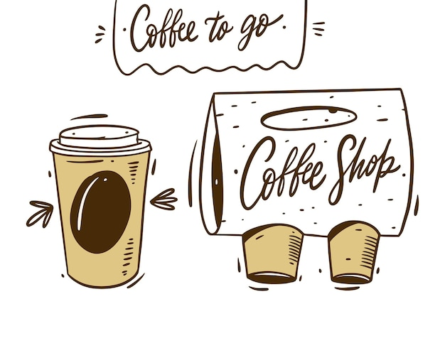Kaffee zum mitnehmen und tragbare verpackung. hand zeichnen cartoon-stil. auf weißem hintergrund isoliert.