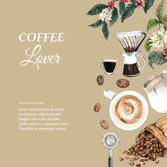 Kaffeearabica-bohnentasche mit kaffeetasse americano, zimtkaffeemaschine-aquarellillustration
