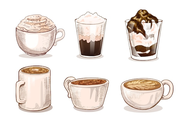 Kaffeearten illustrationskonzept