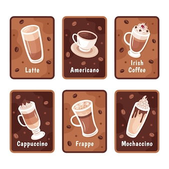 Kaffeearten illustrationssatz