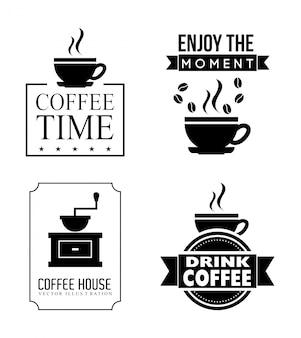Kaffeeauslegung über weißer hintergrundvektorillustration