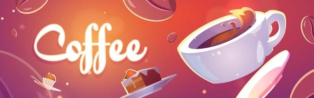 Kaffeebanner mit illustration von tasse und süßigkeiten