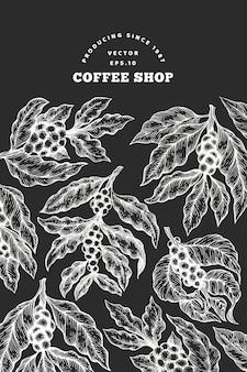 Kaffeebaumast-vektorillustration. gezeichnete gravierte artillustration der weinlese hand