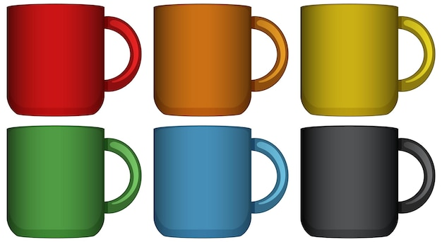 Kaffeebecher in sechs verschiedenen farben