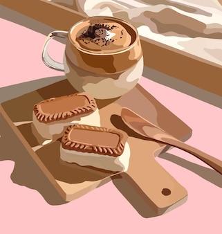 Kaffeebecher mit kuchen und löffel auf küchenbrett
