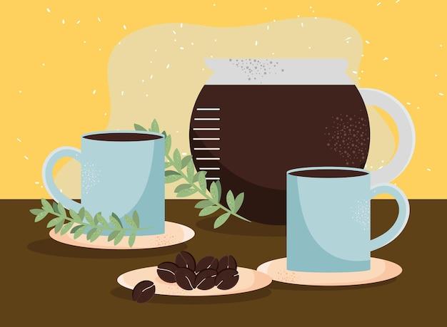 Kaffeebecher und teekanne