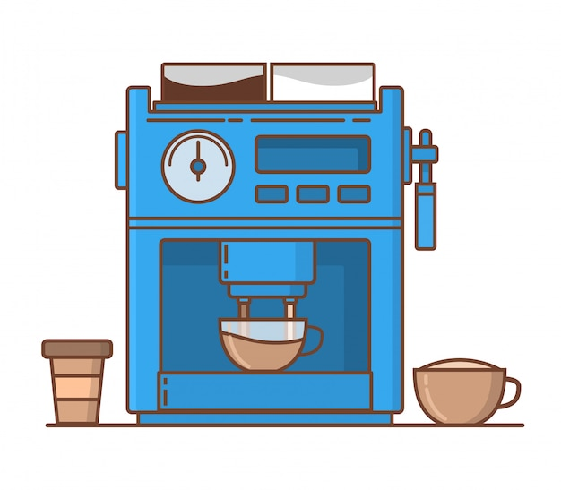 Kaffeebereiter tasse mit cappuccino und pappbecher.