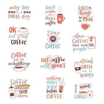 Kaffeebeschriftung kaffeetasse zitat phrase heißes getränk becher inspiration kaffeezeit kalligraphie stil typografie illustration auf weißem hintergrund