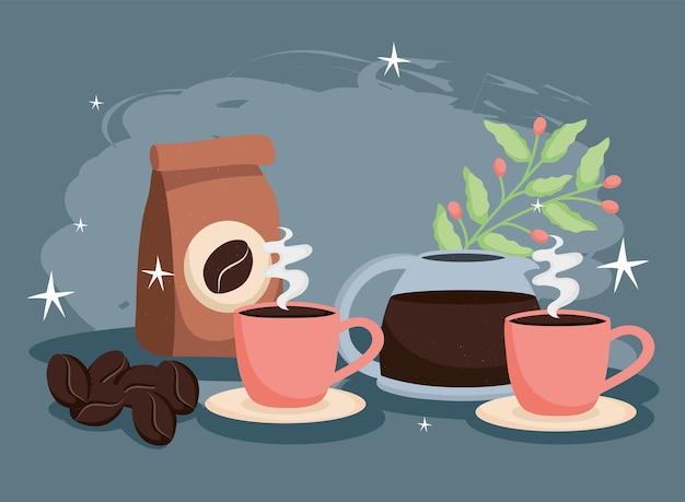 Kaffeebeutel und bohnen