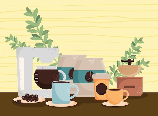 Kaffeebeutel und maschine