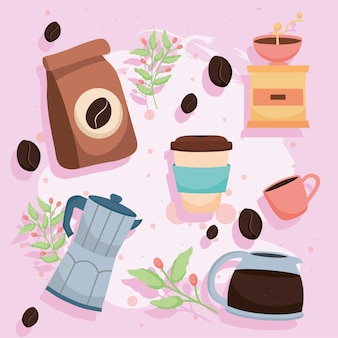 Kaffeebeutel und symbole