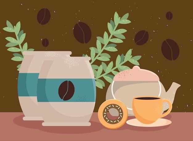 Kaffeebeutel und teekanne
