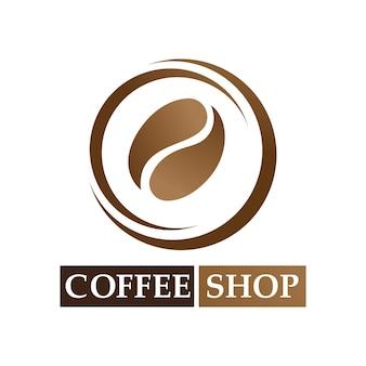 Kaffeebohne-logo und symbolshop-bildvektor