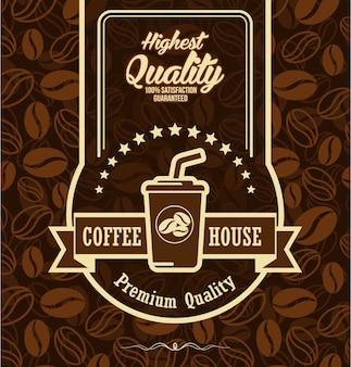 Kaffeebohnehintergrund mit kaffeeaufkleber