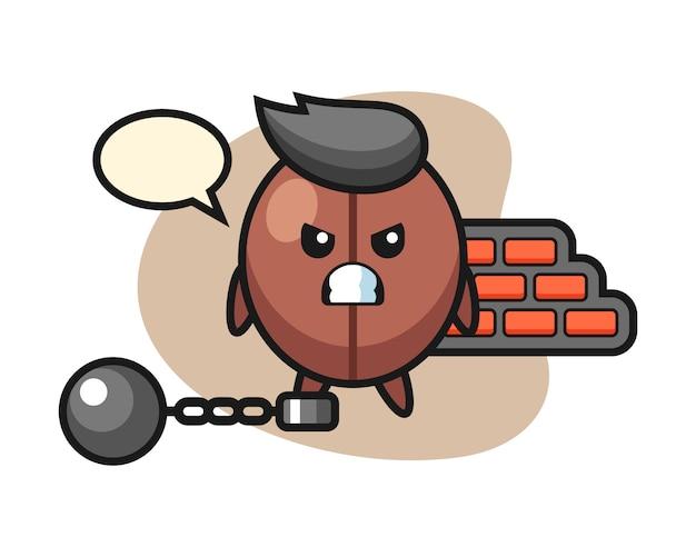 Kaffeebohnen-cartoon als gefangener