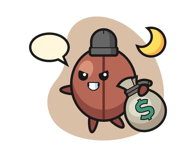 Kaffeebohnen-cartoon hat das geld gestohlen