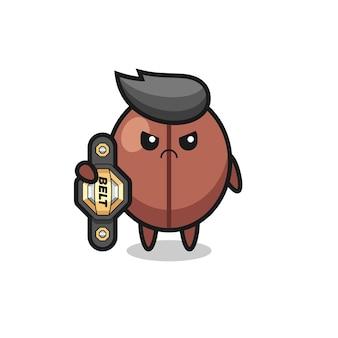 Kaffeebohnen-maskottchen-charakter als mma-kämpfer mit dem champion-gürtel, süßem stildesign für t-shirt, aufkleber, logo-element