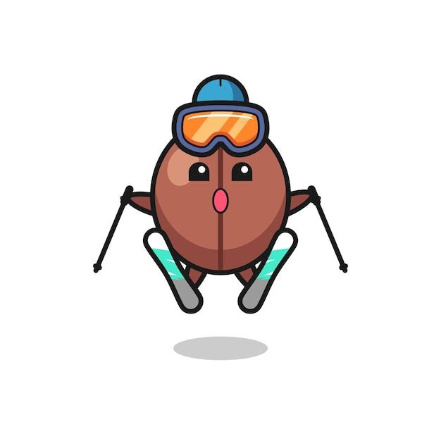 Kaffeebohnen-maskottchen-charakter als skispieler, süßes stildesign für t-shirt, aufkleber, logo-element