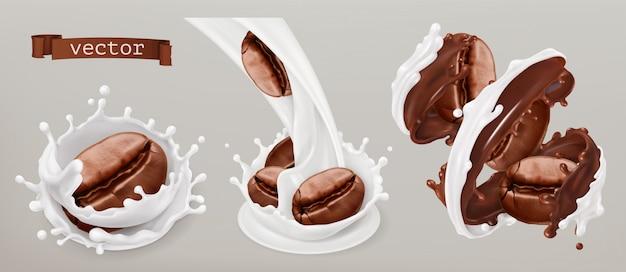Kaffeebohnen und milchspritzer. 3d realistischer satz