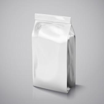 Kaffeebohnenpaket, silberfolienpaket in der abbildung zur verwendung Premium Vektoren
