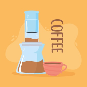 Kaffeebrühmethoden, aeropresse und kaffeetassenillustration
