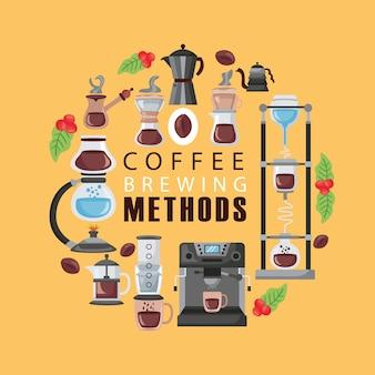 Kaffeebrühmethoden illustration beschriftung und symbole gesetzt