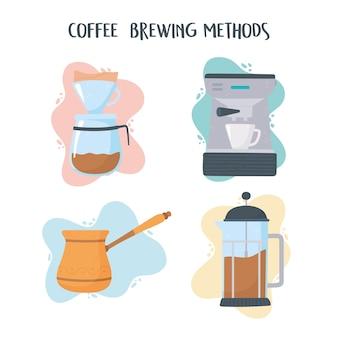 Kaffeebrühmethoden, kaffeemaschine türkische maschine französisch presse illustration