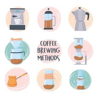 Kaffeebrühmethoden, kaffeemaschinen und kaffeemaschine, wasserkocher, französische presse, moka-topfillustration