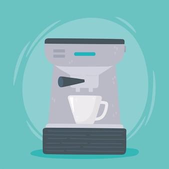 Kaffeebrühmethoden, maschinen-espresso-heißgetränkeillustration