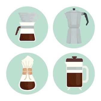 Kaffeebrühmethoden setzen symbole im runden rahmendesign