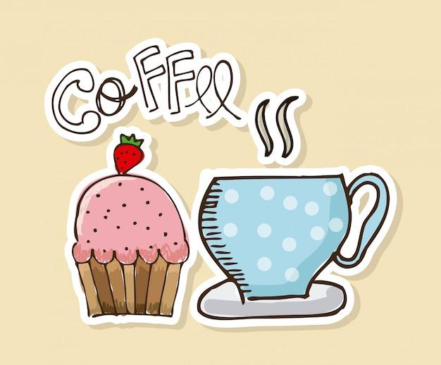 Kaffeedesign über beige hintergrundvektorillustration