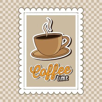 Kaffeedesign über musterhintergrund-vektorillustration