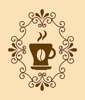 Kaffeedesign über rosa hintergrundvektorillustration