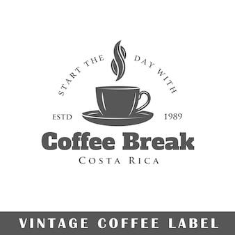 Kaffeeetikett isoliert auf weißem hintergrund