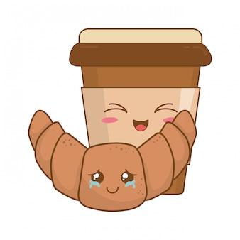 Kaffeegetränk mit croissant kawaii zeichen