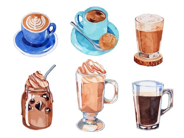 Kaffeegetränk und getränke aquarell