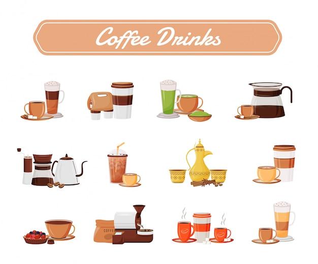 Kaffeegetränke gegenstände gesetzt