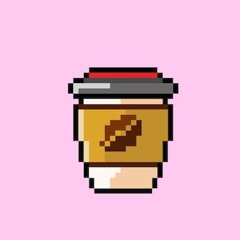 Kaffeeglas im pixel-art-stil